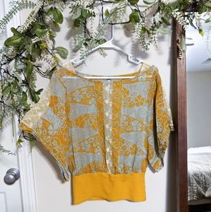 Free People Mustard Lace Floral Dolman Top